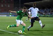 18 July 2019; Andy Lyons of Republic of Ireland and Benoît Badiashile of France during the 2019 UEFA European U19 Championships Group B match between Republic of Ireland and France at Banants Stadium in Yerevan, Armenia. Photo by Stephen McCarthy/Sportsfile