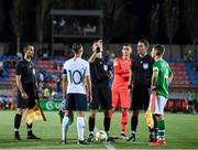 18 July 2019; Referee Kristo Tohver conducts the coin toss with France captain Maxence Caqueret and Republic of Ireland captain Lee O'Connor during the 2019 UEFA European U19 Championships Group B match between Republic of Ireland and France at Banants Stadium in Yerevan, Armenia. Photo by Stephen McCarthy/Sportsfile