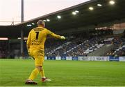 17 July 2019; Gary Rogers of Dundalk celebrates after making a save during the penalty shootout of the UEFA Champions League First Qualifying Round 2nd Leg match between Riga and Dundalk at Skonto Stadium in Riga, Latvia. Photo by Roman Koksarov/Sportsfile