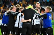 17 July 2019; Dundalk players and staff celebrate following their penalty shootout victory of the UEFA Champions League First Qualifying Round 2nd Leg match between Riga and Dundalk at Skonto Stadium in Riga, Latvia. Photo by Roman Koksarov/Sportsfile