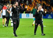 17 July 2019; Dundalk assistant head coach Ruaidhri Higgins, left, and first team coach John Gill celebrate following the UEFA Champions League First Qualifying Round 2nd Leg match between Riga and Dundalk at Skonto Stadium in Riga, Latvia. Photo by Roman Koksarov/Sportsfile
