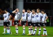 17 July 2019; Dundalk players during the penalty shootout of the UEFA Champions League First Qualifying Round 2nd Leg match between Riga and Dundalk at Skonto Stadium in Riga, Latvia. Photo by Roman Koksarov/Sportsfile