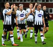 17 July 2019; Dundalk players celebrate following the UEFA Champions League First Qualifying Round 2nd Leg match between Riga and Dundalk at Skonto Stadium in Riga, Latvia. Photo by Roman Koksarov/Sportsfile