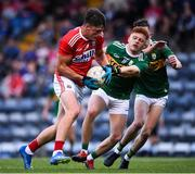 18 July 2019; Colm O'Callaghan of Cork in action against Niall Fonohue and Sean O'Leary of Kerry during the EirGrid Munster GAA Football U20 Championship Final match between Cork and Kerry at Páirc Ui Rinn in Cork. Photo by Matt Browne/Sportsfile