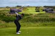 19 July 2019; Jordan Spieth of USA hits a tee shot on the 13th hole during Day Two of the 148th Open Championship at Royal Portrush in Portrush, Co Antrim. Photo by Ramsey Cardy/Sportsfile