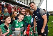 19 July 2019; Jonathan Sexton poses for a photo with fans following an Ireland Rugby open training session at Thomond Park in Limerick. Photo by David Fitzgerald/Sportsfile