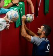 19 July 2019; Rob Kearney signs autographs for fans following an Ireland Rugby open training session at Thomond Park in Limerick. Photo by David Fitzgerald/Sportsfile