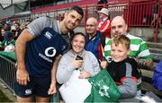 19 July 2019; Rob Kearney poses for a photo with fans following an Ireland Rugby open training session at Thomond Park in Limerick. Photo by David Fitzgerald/Sportsfile