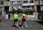 19 July 2019; Lee O'Connor and Brian Maher during a Republic of Ireland players and staff visit to the Children and Youth Technical Creativity Center of Ajapnyak at the 2019 UEFA European U19 Championships in Yerevan, Armenia. Photo by Stephen McCarthy/Sportsfile
