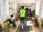 19 July 2019; Tyreik Wright during a Republic of Ireland players and staff visit to the Children and Youth Technical Creativity Center of Ajapnyak at the 2019 UEFA European U19 Championships in Yerevan, Armenia. Photo by Stephen McCarthy/Sportsfile