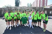 19 July 2019; Republic of Ireland players and staff visit to the Children and Youth Technical Creativity Center of Ajapnyak at the 2019 UEFA European U19 Championships in Yerevan, Armenia. Photo by Stephen McCarthy/Sportsfile