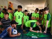 19 July 2019; Andy Lyons during a Republic of Ireland players and staff visit to the Children and Youth Technical Creativity Center of Ajapnyak at the 2019 UEFA European U19 Championships in Yerevan, Armenia. Photo by Stephen McCarthy/Sportsfile