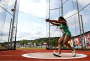 19 July 2019; Miranda Tcheutchoua of Ireland competing in the Women's Hammer Throw qualifying rounds during Day Two of the European Athletics U20 Championships in Borås, Sweden. Photo by Giancarlo Colombo/Sportsfile