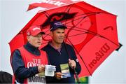 19 July 2019; Padraig Harrington of Ireland with caddy Ronan Flood on the 11th tee box during Day Two of the 148th Open Championship at Royal Portrush in Portrush, Co Antrim. Photo by Brendan Moran/Sportsfile