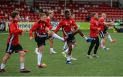 19 July 2019; Derry City players warm up prior to the SSE Airtricity League Premier Division match between Derry City and Sligo Rovers at Ryan McBride Brandywell Stadium in Derry. Photo by Oliver McVeigh/Sportsfile