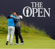 19 July 2019; Paul Casey of England hugs Rory McIlroy of Northern Ireland following their rounds during Day Two of the 148th Open Championship at Royal Portrush in Portrush, Co Antrim. Photo by John Dickson/Sportsfile
