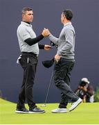 19 July 2019; Gary Woodland of USA shakes hands with Rory McIlroy of Northern Ireland following their round during Day Two of the 148th Open Championship at Royal Portrush in Portrush, Co Antrim. Photo by John Dickson/Sportsfile