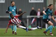 19 July 2019; Junior Ogedi-Uzokwe of Derry City shoots to score his side's first goal during the SSE Airtricity League Premier Division match between Derry City and Sligo Rovers at Ryan McBride Brandywell Stadium in Derry. Photo by Oliver McVeigh/Sportsfile