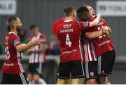 19 July 2019; Junior Ogedi-Uzokwe of Derry City, right, celebrates with team-mate Greg Sloggett after scoring his side's first goal during the SSE Airtricity League Premier Division match between Derry City and Sligo Rovers at Ryan McBride Brandywell Stadium in Derry. Photo by Oliver McVeigh/Sportsfile