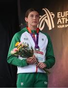 19 July 2019; Silver medallist Kate O'Connor of Ireland during the medal ceremony for the Women's Heptathlon during Day Two of the European Athletics U20 Championships in Borås, Sweden. Photo by Giancarlo Colombo/Sportsfile