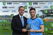 19 July 2019; Ciarán Archer of Dublin receives the Man of the Match Award from Peter Lantry, EirGrid Manager, following the EirGrid Leinster GAA Football U20 Championship Final match between Laois and Dublin at Bord na Móna O'Connor Park in Tullamore, Co Offaly. Photo by Piaras Ó Mídheach/Sportsfile