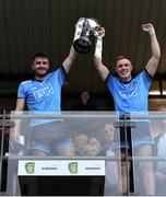 19 July 2019; Dublin joint captains James Doran, left, and Kieran Kennedy lift the cup after the EirGrid Leinster GAA Football U20 Championship Final match between Laois and Dublin at Bord na Móna O'Connor Park in Tullamore, Co Offaly. Photo by Piaras Ó Mídheach/Sportsfile
