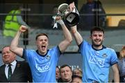 19 July 2019; Dublin joint captains Kieran Kennedy, left, and James Doran lift the cup after the EirGrid Leinster GAA Football U20 Championship Final match between Laois and Dublin at Bord na Móna O'Connor Park in Tullamore, Co Offaly. Photo by Piaras Ó Mídheach/Sportsfile