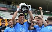 19 July 2019; Karl Bissett of Dublin celebrates with the cup after the EirGrid Leinster GAA Football U20 Championship Final match between Laois and Dublin at Bord na Móna O'Connor Park in Tullamore, Co Offaly. Photo by Piaras Ó Mídheach/Sportsfile
