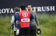 19 July 2019; Rory McIlroy of Northern Ireland is consoled by his caddy Harry Diamond during Day Two of the 148th Open Championship at Royal Portrush in Portrush, Co Antrim. Photo by Ramsey Cardy/Sportsfile