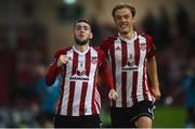 19 July 2019; Jamie McDonagh, left, of Derry City celebrates with team-mate Greg Sloggett after scoring his side's second goal during the SSE Airtricity League Premier Division match between Derry City and Sligo Rovers at Ryan McBride Brandywell Stadium in Derry. Photo by Oliver McVeigh/Sportsfile