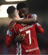 19 July 2019; Jamie McDonagh of Derry City celebrates with team-mate Junior Ogedi-Uzokwe after scoring his side's second goal during the SSE Airtricity League Premier Division match between Derry City and Sligo Rovers at Ryan McBride Brandywell Stadium in Derry. Photo by Oliver McVeigh/Sportsfile
