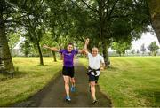 20 July 2019; David Gillick, left, with Balazs Orban from Budapest, Hungary during the Fairview parkrun where Vhi hosted a special event to celebrate their partnership with parkrun Ireland. Vhi ambassador and Olympian David Gillick was on hand to lead the warm up for parkrun participants before completing the 5km free event. Parkrunners enjoyed refreshments post event at the Vhi Rehydrate, Relax, Refuel and Reward areas. parkrun in partnership with Vhi support local communities in organising free, weekly, timed 5k runs every Saturday at 9.30am. Photo by David Fitzgerald/Sportsfile