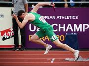 20 July 2019; Ciaran Carthy of Ireland competing in the Men's 4x400m Relay qualifying rounds during Day Three of the European Athletics U20 Championships in Borås, Sweden. Photo by Giancarlo Colombo/Sportsfile