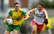 20 July 2019; Geraldine McLaughlin of Donegal in action against Caoileann Conway of Tyrone during the TG4 All-Ireland Ladies Football Senior Championship Group 4 Round 2 match between Donegal and Tyrone at TEG Cusack Park in Mullingar, Co. Westmeath. Photo by Piaras Ó Mídheach/Sportsfile