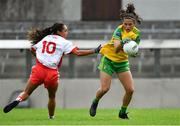 20 July 2019; Amy Boyle Carr of Donegal in action against Niamh Hughes of Tyrone during the TG4 All-Ireland Ladies Football Senior Championship Group 4 Round 2 match between Donegal and Tyrone at TEG Cusack Park in Mullingar, Co. Westmeath. Photo by Piaras Ó Mídheach/Sportsfile