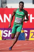 20 July 2019; Reality Osuoha of Ireland competing in the Men's 200m semifinal during Day Three of the European Athletics U20 Championships in Borås, Sweden. Photo by Giancarlo Colombo/Sportsfile