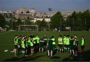 20 July 2019; Republic of Ireland head coach Tom Mohan speaks to his players during a training session ahead of their final group game of the 2019 UEFA European U19 Championships at the FFA Technical Centre in Yerevan, Armenia. Photo by Stephen McCarthy/Sportsfile