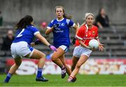20 July 2019; Orla Finn of Cork in action against Kate McIntyre, left, and Niamh Keenaghan of Cavan during the TG4 All-Ireland Ladies Football Senior Championship Group 2 Round 2 match between Cork and Cavan at TEG Cusack Park in Mullingar, Co. Westmeath. Photo by Piaras Ó Mídheach/Sportsfile