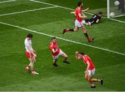 20 July 2019; James Loughrey of Cork, centre, celebrates after scoring his side's second goal of the game during the GAA Football All-Ireland Senior Championship Quarter-Final Group 2 Phase 2 match between Cork and Tyrone at Croke Park in Dublin. Photo by Seb Daly/Sportsfile