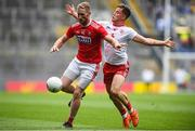 20 July 2019; Ruairi Deane of Cork in action against Kieran McGeary of Tyrone during the GAA Football All-Ireland Senior Championship Quarter-Final Group 2 Phase 2 match between Cork and Tyrone at Croke Park in Dublin. Photo by David Fitzgerald/Sportsfile