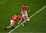 20 July 2019; Conor Meyler of Tyrone in action against Kevin Flahive, left, and Ian Maguire  of Cork during the GAA Football All-Ireland Senior Championship Quarter-Final Group 2 Phase 2 match between Cork and Tyrone at Croke Park in Dublin. Photo by Seb Daly/Sportsfile