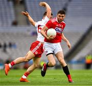20 July 2019; Luke Connolly of Cork in action against Kieran McGeary of Tyrone during the GAA Football All-Ireland Senior Championship Quarter-Final Group 2 Phase 2 match between Cork and Tyrone at Croke Park in Dublin. Photo by Ray McManus/Sportsfile