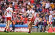 20 July 2019; Peter Harte of Tyrone celebrates after scoring his side's third goal during the GAA Football All-Ireland Senior Championship Quarter-Final Group 2 Phase 2 match between Cork and Tyrone at Croke Park in Dublin. Photo by David Fitzgerald/Sportsfile