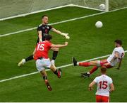 20 July 2019; Luke Connolly of Cork shoots wide under pressure from Niall Morgan, left, and Ronan McNamee of Tyrone during the GAA Football All-Ireland Senior Championship Quarter-Final Group 2 Phase 2 match between Cork and Tyrone at Croke Park in Dublin. Photo by Seb Daly/Sportsfile