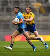 20 July 2019; Niall Scully of Dublin in action against Cathal Cregg of Roscommon during the GAA Football All-Ireland Senior Championship Quarter-Final Group 2 Phase 2 match between Dublin and Roscommon at Croke Park in Dublin. Photo by David Fitzgerald/Sportsfile