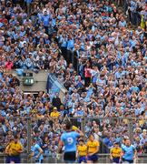 20 July 2019; Dubin supporters on hill 16 celebrate a score during the GAA Football All-Ireland Senior Championship Quarter-Final Group 2 Phase 2 match between Dublin and Roscommon at Croke Park in Dublin. Photo by David Fitzgerald/Sportsfile