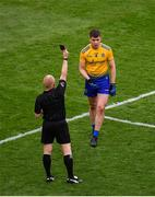 20 July 2019; Conor Daly of Roscommon is shown a black card by referee Barry Cassidy during the GAA Football All-Ireland Senior Championship Quarter-Final Group 2 Phase 2 match between Dublin and Roscommon at Croke Park in Dublin. Photo by Seb Daly/Sportsfile