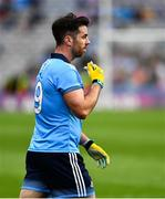 20 July 2019; Michael Darragh MacAuley of Dublin removes his gum shield as he leaves the field after being shown a Black Card during the GAA Football All-Ireland Senior Championship Quarter-Final Group 2 Phase 2 match between Dublin and Roscommon at Croke Park in Dublin. Photo by Ray McManus/Sportsfile