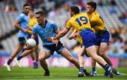 20 July 2019; Brian Fenton of Dublin in action against Fintan Cregg of Roscommon during the GAA Football All-Ireland Senior Championship Quarter-Final Group 2 Phase 2 match between Dublin and Roscommon at Croke Park in Dublin. Photo by David Fitzgerald/Sportsfile