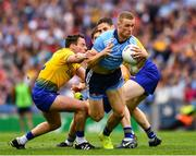 20 July 2019; Paul Mannion of Dublin in action against David Murray, Niall Kilroy and Fintan Cregg of Roscommon during the GAA Football All-Ireland Senior Championship Quarter-Final Group 2 Phase 2 match between Dublin and Roscommon at Croke Park in Dublin. Photo by Ray McManus/Sportsfile